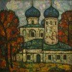 ***Церковь в Великом Новгороде - холст, масло, 80х80. Цена договорная