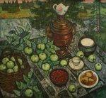 ***Самовар и зеленые яблоки - холст, масло, 80х85. Цена договорная