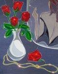 Упавшая роза - 60*70, 2010г., ткань, стразы