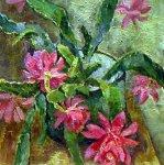 ***Розовые цветы - холст, масло, 45х45. Цена договорная