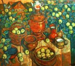***Самовар и яблоки - холст, масло, 100х110. Цена договорная